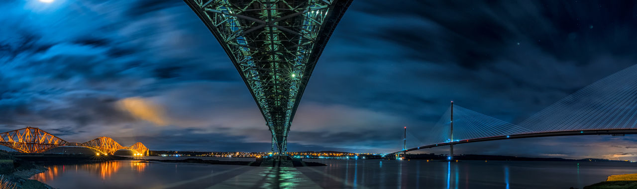 Architecture Sky Water Built Structure Illuminated Night Bridge Bridge - Man Made Structure City Transportation Travel Destinations Cloud - Sky Nature No People Outdoors Forth Bridge Forth Road Bridge Queensferry Crossing Scotland North Queensferry
