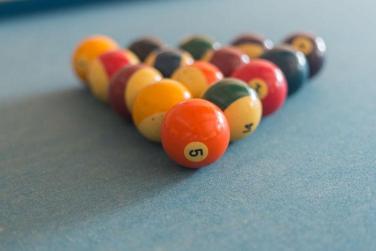 Close-up of multi colored set billiard balls