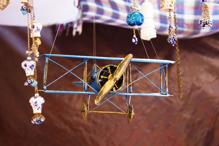 Close-up of model airplane at home