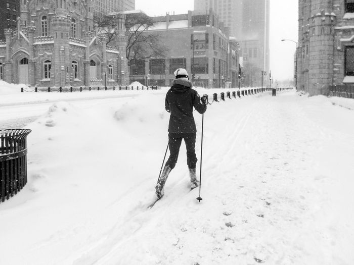 The Chicago blizzard in 2011 dumped so much snow that cross country skiers roamed the streets of downtown, here: Michigan Ave, Magnificent Mile. B & W  Black And White Blackandwhite Blizzard Blizzard 2011 Chicago Cold Temperature Cross Country Skiing Day Downownottawa Illinois Leisure Activity Michigan Avenue Outdoors Season  Skiing In Downtown Snow USA Warm Clothing Weather Winter Winter Storm Eyeemphoto Shades Of Winter