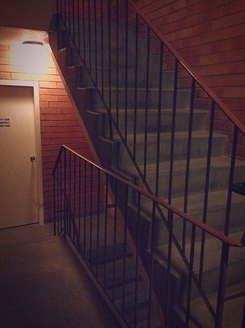 Stairs Stairwell Stairways Brick Wall Apartment Indoors  Light Shadow Night Redbrick Exit Fireexit