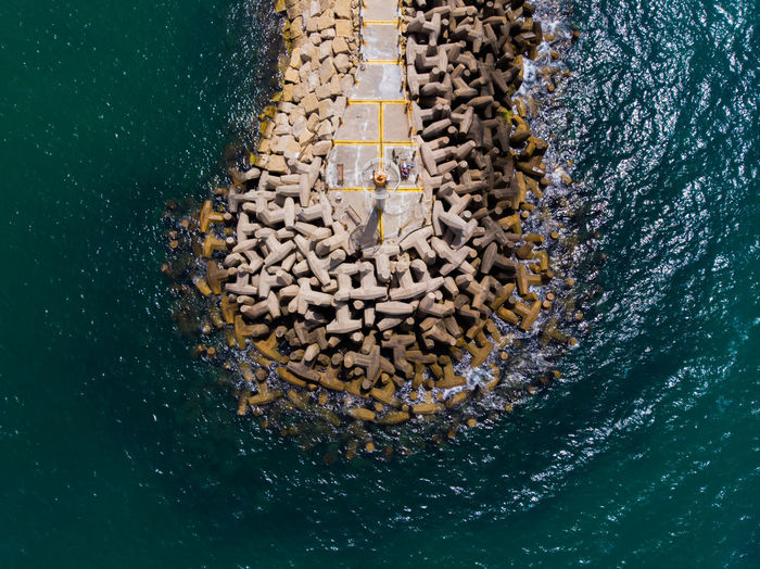 High angle view of bread in sea