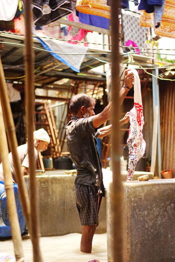 Dhobie Ghat India Worlds Biggest Open Air Laundry Day Flogging Clothes Men Outdoors Washing Pen