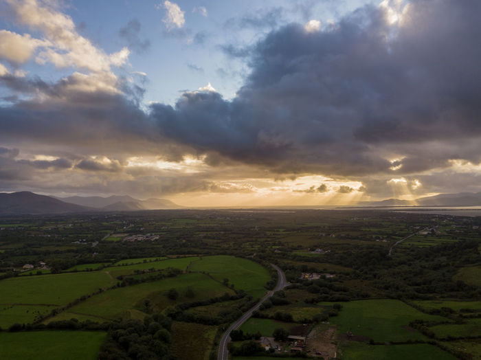 Aerial View Beauty In Nature Cloud - Sky Day Environment Field Horizon Land Landscape Nature No People Non-urban Scene Outdoors Rural Scene Scenics - Nature Sky Sunset Tranquil Scene Tranquility