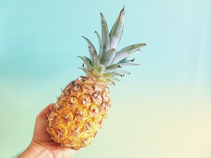 Cropped hand holding pineapple against sky