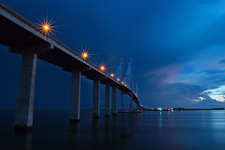 Architecture Blue Bridge Bridge - Man Made Structure Built Structure Cloud Connection Dusk Electric Light Engineering Glowing Illuminated In A Row Lighting Equipment Long Night Scenics Sea Sky Street Light Suspension Bridge Sydney Lanier Bridge Tranquil Scene Tranquility Water