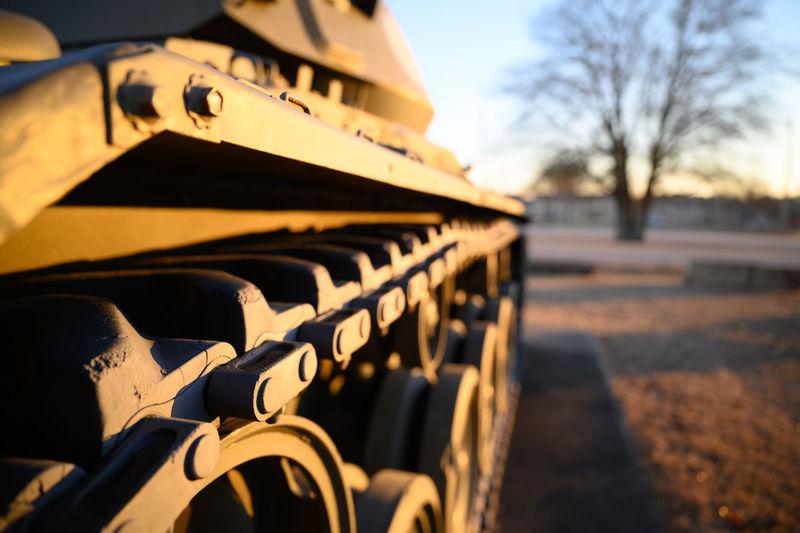 Close-up of war tank treads