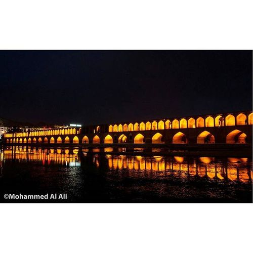 Ricoh Gr Ricohgr Siosepol Bridge Isfahan Iraq Night Reflection Trave