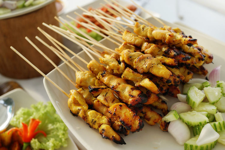Satay - Malaysia Cuisine BBQ Cuisine Malaysian Food Asian Food Close-up Focus On Foreground Food Freshness Grilled Healthy Eating Malay Meat No People Plate Ready-to-eat Satay Sataychicken Food Stories