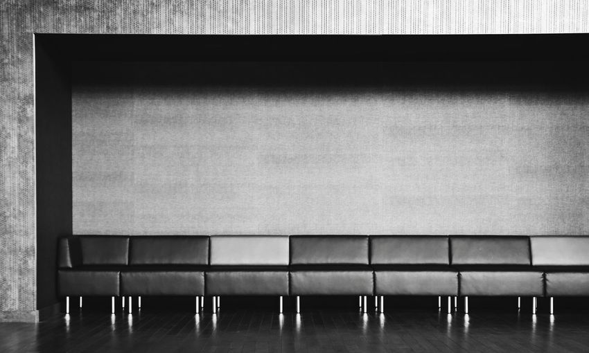 Seat Empty Chair No People Wall - Building Feature Side By Side Leather Interior Black & White Bnw_collection Bnw_captures Bw_lover Bw_collection Monochrome_life Monochrome