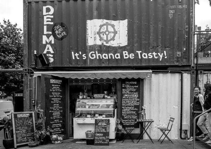 It's Ghana be Tasty, Pop Brixton, Brixton, London Street Pop Brixton Monochrome Black And White FUJIFILM X-T10 London Brixton Market
