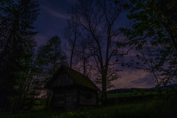 Tree Plant Built Structure Architecture Nature Night Sky Land No People Building Exterior Beauty In Nature Tranquility Building Field House Tranquil Scene Wood - Material Scenics - Nature Dusk Outdoors Nightview