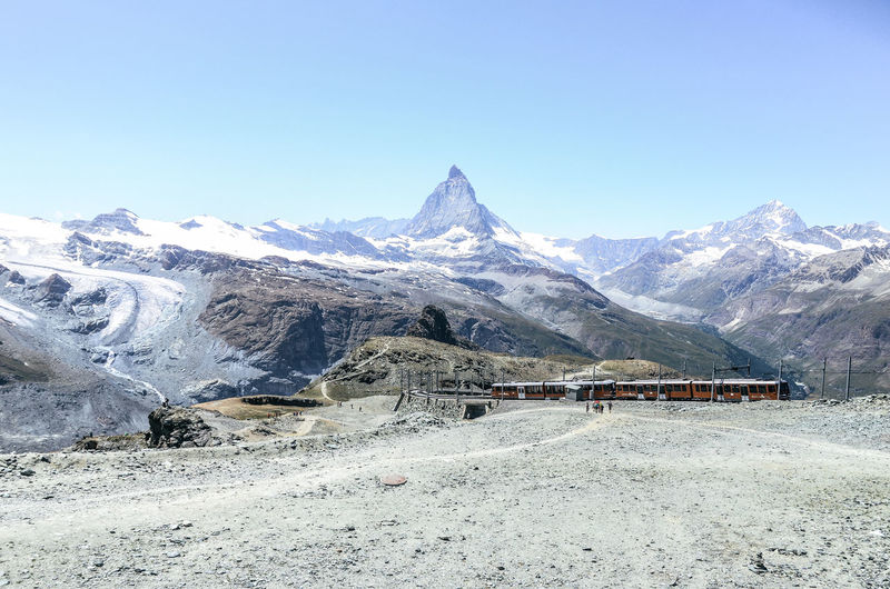 Zermatt Beauty In Nature Clear Sky Cold Temperature Day Landscape Mountain Mountain Range Mountains Nature No People Outdoors Scenics Sky Snow Snowcapped Mountain Swiss Alps Train Tranquil Scene Tranquility Fresh On Market 2017