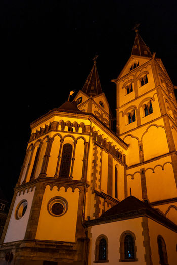 Boppard, Germany Architecture Religion Building Exterior Built Structure Place Of Worship Belief Night Building Spirituality Low Angle View Sky No People Nature Tower Illuminated Travel Destinations The Past Spire