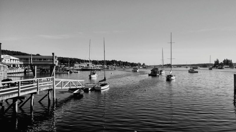 Nautical Vessel Water Pier Harbor Sea Transportation Travel Destinations Outdoors Mode Of Transport Moored Vacations Wooden Post Day No People Sky Tranquility Landscape Sailboat Beach Clear Sky Maine Boothbay Harbor Maine