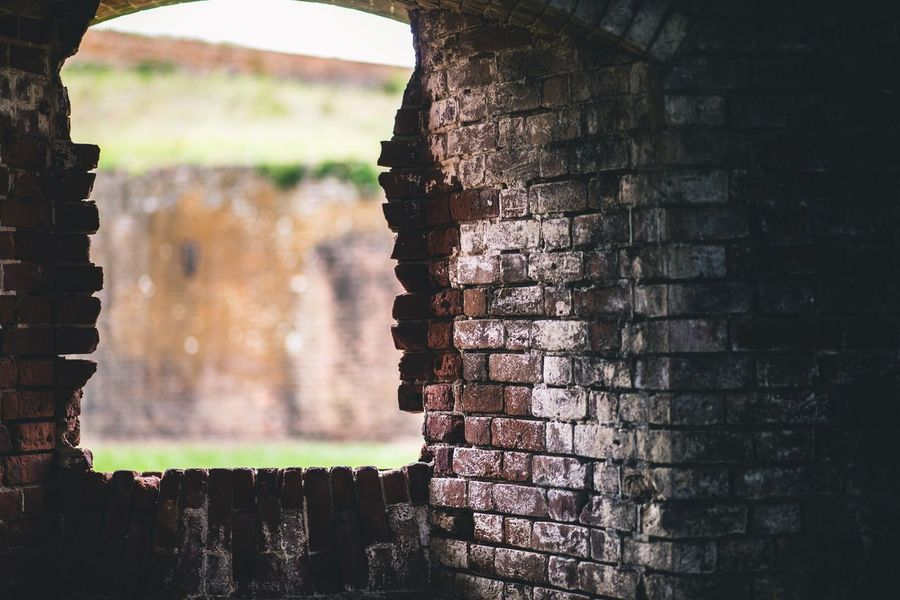 Window of old brick fort Old Brick Brick Wall Window Day Architecture No People Outdoors Built Structure Building Exterior Close-up