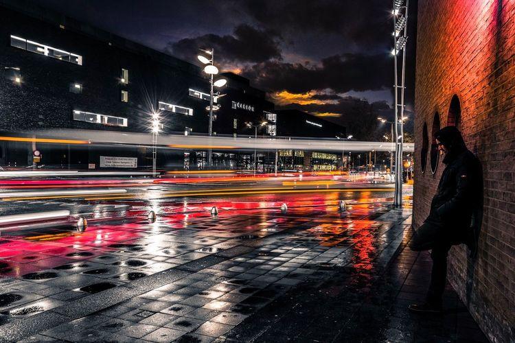 Long Exposure Night Blurred Motion Illuminated Speed Light Trail Motion Transportation City City Life Outdoors Sky People Selfie ✌ Genk Belgium