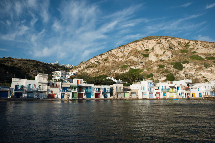 Village of Klima on MIlos Island Beuty In Nature Greek Islands Mediterranean Sea Milos Island Travel Architecture Building Exterior Built Structure Greece Landscape Sea Sky Travel Destinations Turquoise Water