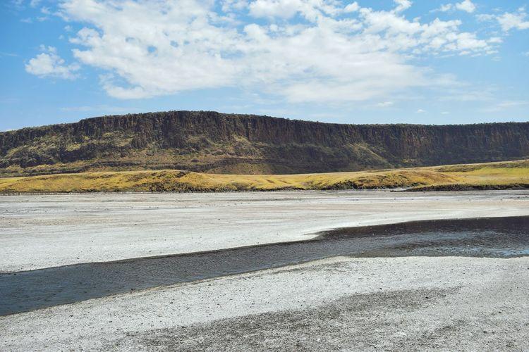 Sand deposits at the shores of lake magadi, rift valley, kenya