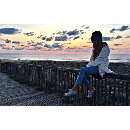 Sea Beach Francia Hossegor Sunset Landscape Women Surfgirl Surf Sky Cloud - Sky