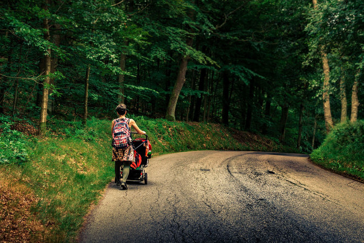 Adult Adults Only Adventure Backpack Biker Day Forest Full Length Hiking Men Nature One Man Only One Person Only Men Outdoors People Real People Road Travel Tree Walking WoodLand Young Adult