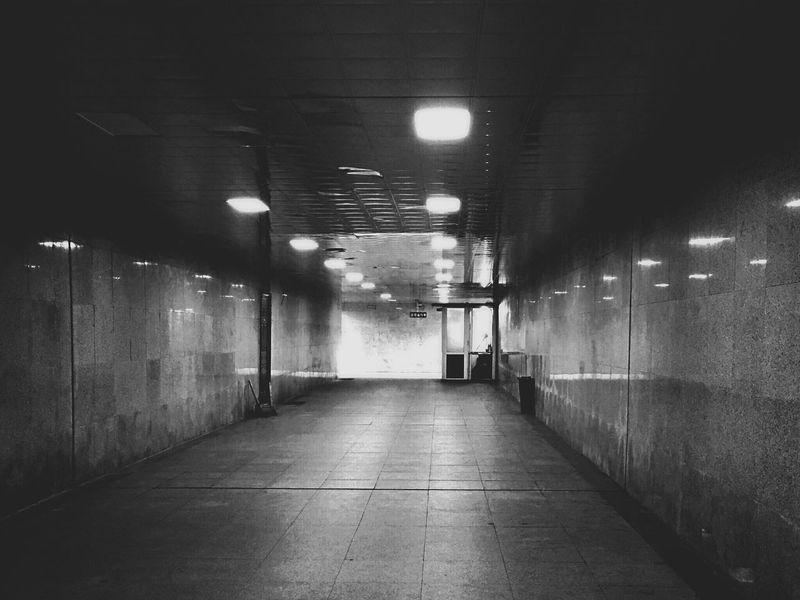 EyeEmNewHere Light Underground Passage Black And White Chill Empty Indoors  Light And Shadow Thriller