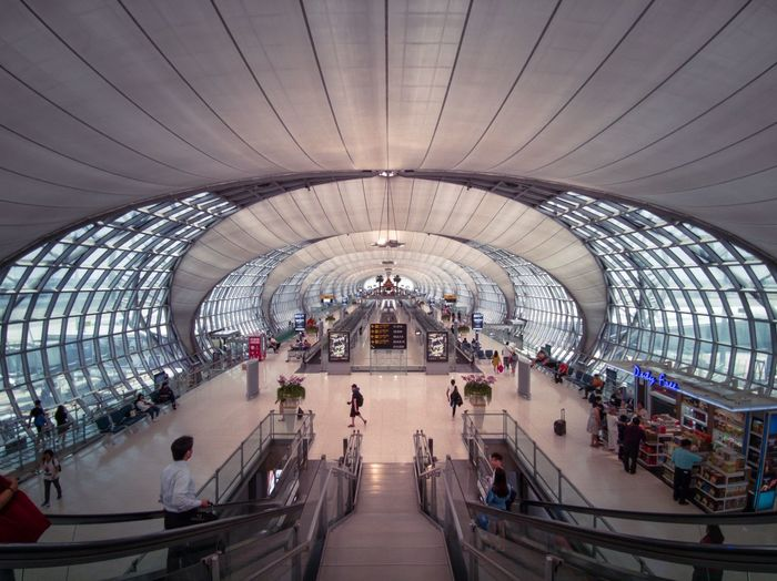 Airport Bangkok Architecture Group Of People Large Group Of People Crowd Indoors  Incidental People Built Structure Real People Travel Destinations Travel Tourism Transportation