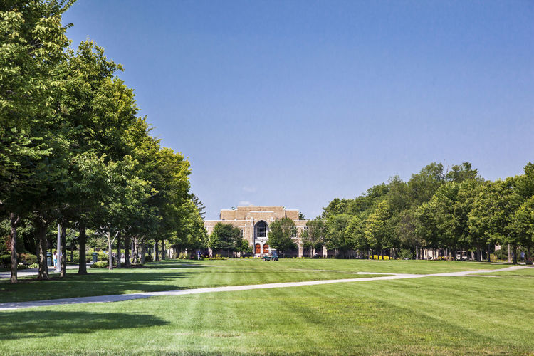 University of Notre Dame USA Green Blue Sky Campus Christian Culture Education Green Grass Religion Color Famous Knowledge Lawn Science And Technology Horizontal Composition Outdoor Sunny Day Teaching Building Tree University Of Notre Dame USA
