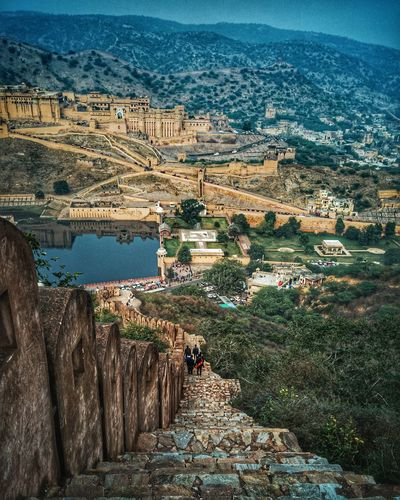 High angle view of amer fort