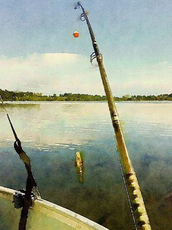 Reflection Water Sky Lake Outdoors Nautical Vessel Nature Fish Fishing Fishing Pole Tree Line Trees Painting Art