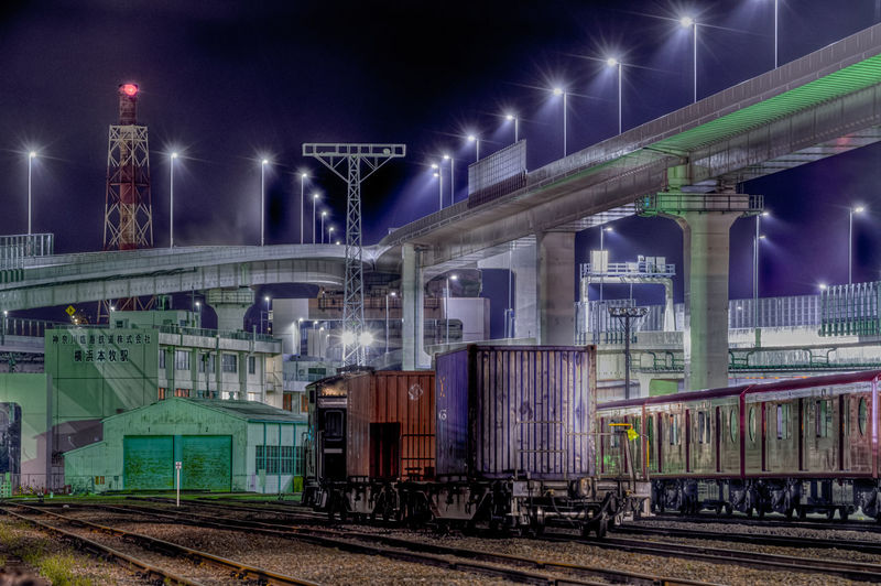 Transportation Night Illuminated Architecture Railroad Track Track Rail Transportation Built Structure Bridge No People Connection Bridge - Man Made Structure Mode Of Transportation Sky Motion Train - Vehicle Train Building Exterior Outdoors Nature Architectural Column Japan Highway Freight Train HDR
