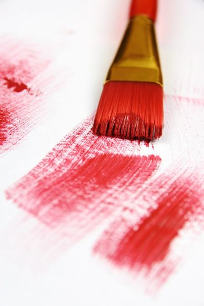 Red Red Brush Red Paint Paint Brush Macro No People Lines Colors Colour White Background Studio Shot Close-up
