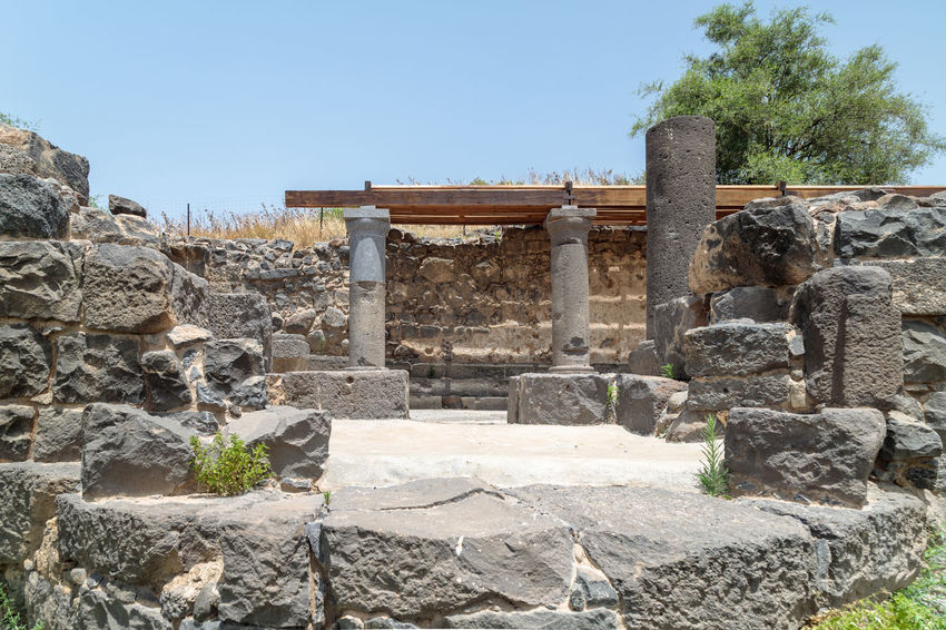 Ruins of the Dir Aziz Synagogue, built in the Byzantine period, at the beginning of the sixth century AD. It is located on the Golan Heights in Israel. Architecture Byzantine Period Dir Aziz Synagogue Faith God Golan Heights Jewish Torah Tradition Ancient Civilization Archaeological Art Building Constructions Culture Decoration Heritage History Israel Located Old Pillars Religion Ruin Stone