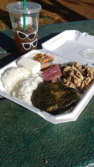 Hawaiian Food . Laulau ,Pipikaula , Haupia , Kalua Pig , Lomi Salmon . Foodporn