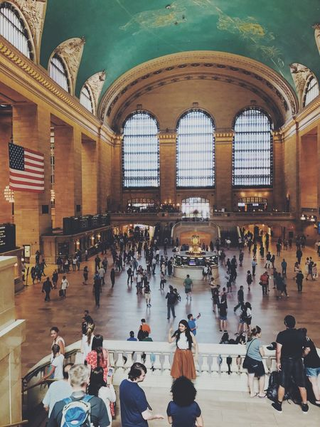 """""""busy ?"""" 🚊 Large Group Of People Indoors  Real People Architecture Built Structure People The Architect - 2017 EyeEm Awards New York Architecture Sitting Day City Train Train Station Manhattan USAtrip America American Flag"""