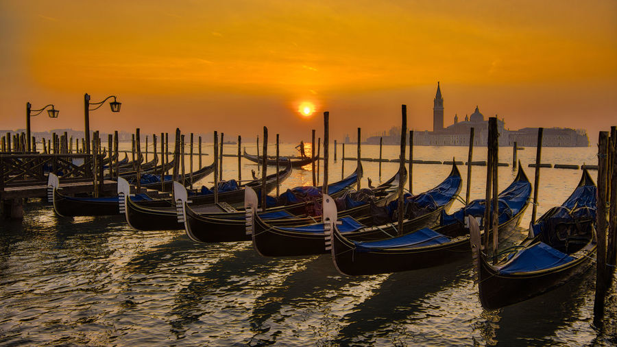 Architecture Building Exterior Day Gondola Gondola - Traditional Boat Moored Nature Nautical Vessel No People Orange Color Outdoors Sky Spirituality Sunset Transportation Travel Destinations Water