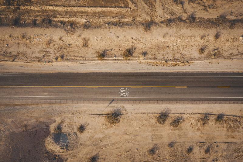 View of road passing through desert