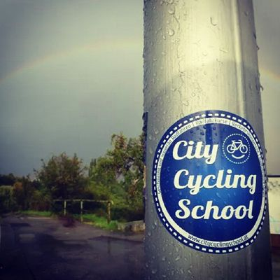 Happy Rainbow (without Unicorn , though) in a sunny rainy afternoon in Vienna . Cycling radfahren Wien