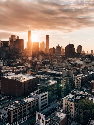 New York City One World NYC Sunset NYC One World Trade Center Freedom Tower Building Exterior Architecture Building Built Structure City Sky Cityscape Sunset Travel Destinations