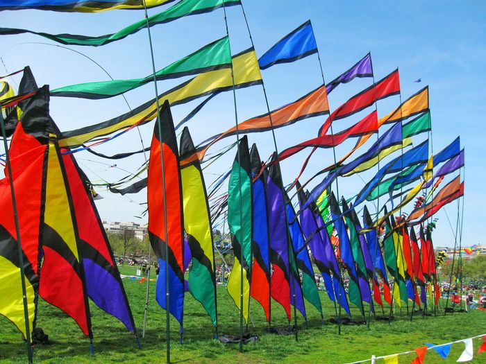 Colorful Flags On Grass Against Sky