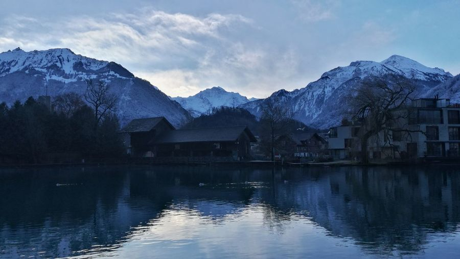 good morning Bernese Oberland Jungfrau Interlaken Switzerland EyeEm Selects Mountain Reflection Lake Snow Landscape Mountain Range Scenics Water Outdoors Beauty In Nature Winter Sky No People Day Nature