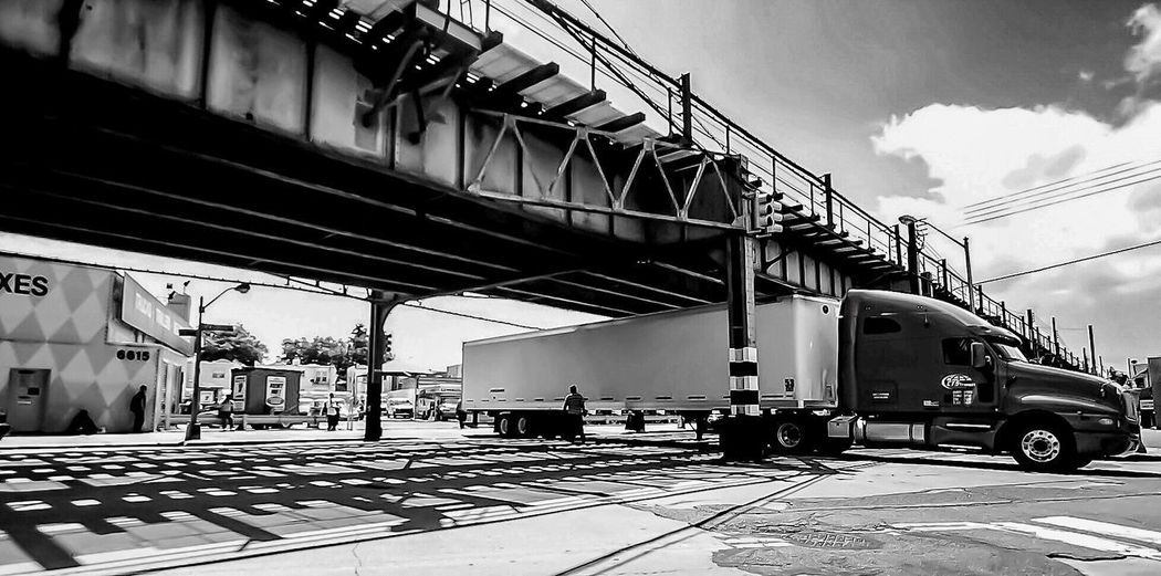 Brooklyn Blackandwhite Elevated Track Light And Shadow Light Midday Transportation Mode Of Transport Freight Transportation Built Structure Land Vehicle Connection Day Sky Outdoors Railroad Track