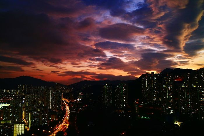 Sunset Dusk Twilight Twilight Sky Twilightscapes City Illuminated Cloud - Sky Skyscraper Urban Skyline City Street Discoverhongkong Hong Kong Tadaa Community City Explorer City Exploration Silhouette Urban Exploration Millennial Pink
