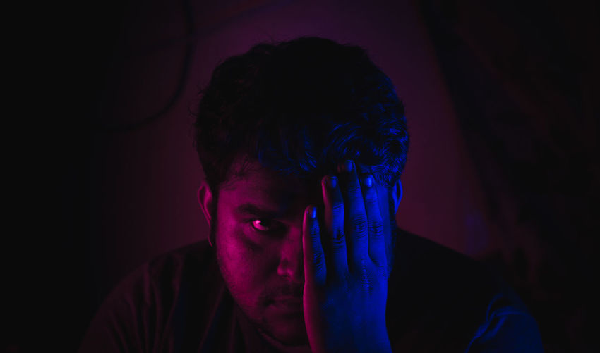 Experiments with myself... Chennai Colors Experimental Half Face Pink Tadaa Community Adult Blue Close-up Darkness And Light Headshot Human Hand Illuminated Indoors  Lifestyles Light And Shadow Myself Mystery Night One Person People Portrait Real People Self Portrait Young Adult Inner Power Capture Tomorrow