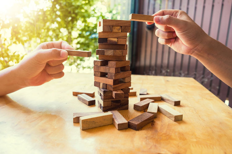 Business Choice Construction Falling Fear Planning RISK Background Block Chance Closeup Concept Danger Game Leadership Mistake Object Progress Solution Stability Strategy Structure Success Wood - Material Wooden