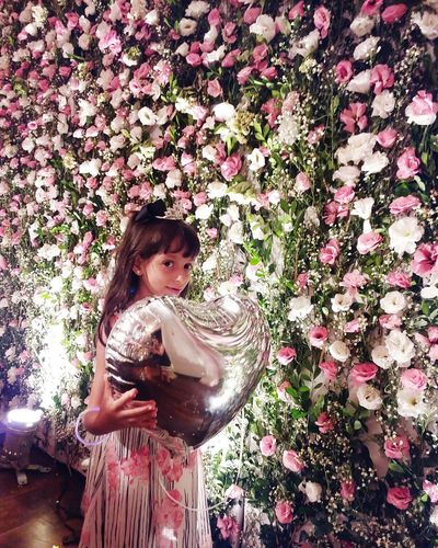 One Person Childhood Standing Indoors  People Real People Roses Are Pink Roses Collection Roses Flowers  Mygirly Daughter Smiles Millennial Pink