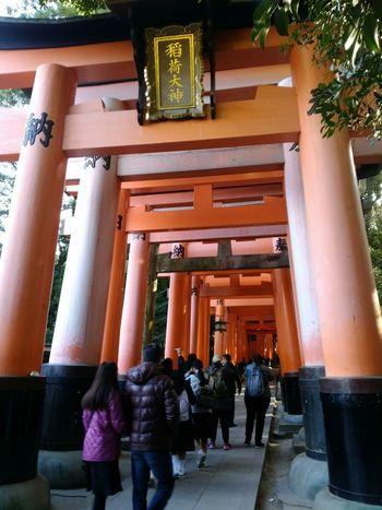 伏見稲荷大社 2017冬旅🐾👣🚗 朝から素晴らしい場所で過ごす 久しぶりの京都ドライブ💛 20171207🐾👣 Scenery Tranquilness Moment 神社 京都 Kyoto, Japan 千本鳥居 Power Relaxing Scenics Shrine Of Japan Architecture Architectural Column Built Structure Statue Day People Adult Adults Only