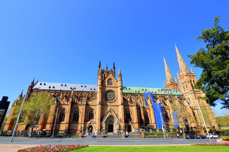 Cathedral Cathedral Walls Church Church Tower Historical Building Sydney, Australia Architecture Blue Blue Sky And Church Building Building Exterior Buildings & Sky Built Structure Cathedrals  Church Architecture Church Buildings Churches Clear Sky History Low Angle View Sky Spirituality Sydney Wideangle Wideangle Lens
