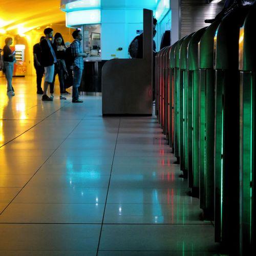 Corridor People Architecture Indoors  Streetphotography Paris Street City Bibliothèque Nationale De France Metro Gare Station Trajetquotidien Rainbow Colors