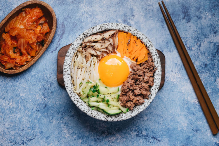 Bibimbap Breakfast Directly Above Egg Egg Yolk Food Food And Drink Freshness Fried Fried Egg Healthy Eating High Angle View Indoors  Kitchen Utensil Meal Meat Ready-to-eat Sunny Side Up Table Vegetable Wellbeing